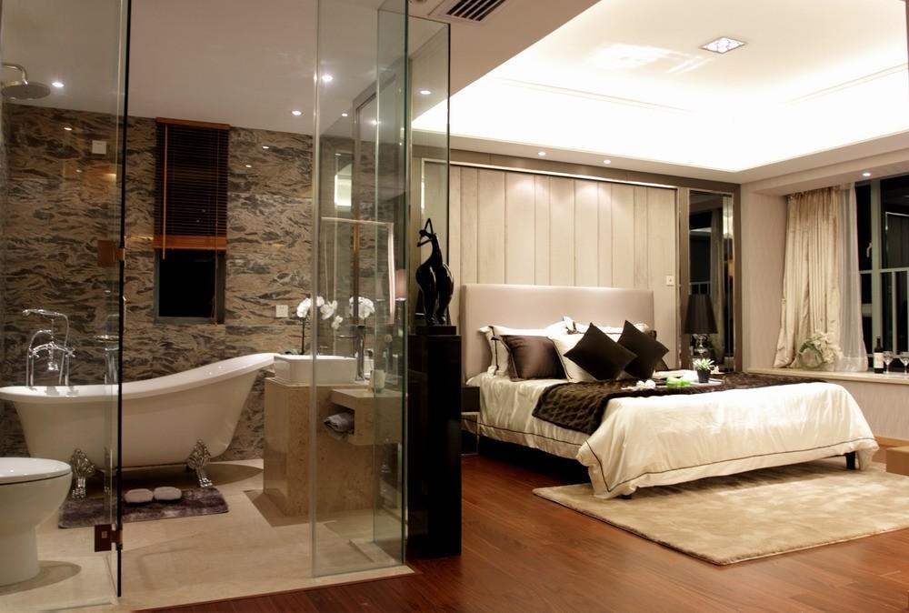 卫生带_2017混搭风格卧室带卫浴装修效果图片 – 设计本装修效果图