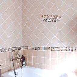 美式风格家用主卫生间浴缸马赛克瓷砖装修效果图片