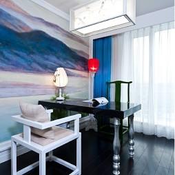 熊龙灯作品小型书房手绘背景墙装修效果图