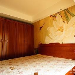 中式卧室手绘背景墙装修效果图片