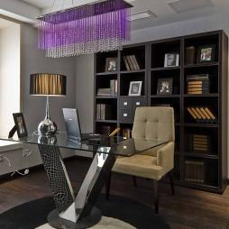 现代简约风格样板间书房水晶吊灯装修效果图