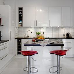现代风格小户型开放式L型家居厨房吧台置物柜装修效果图欣赏