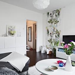 混搭风格小户型室内客厅手绘壁画装修效果图