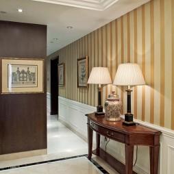 2017美式风格三室一厅家装过道地面瓷砖装修效果图