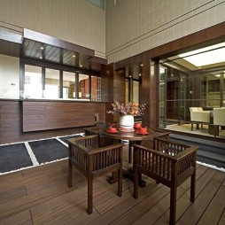 2017东南亚风格别墅室内茶室休闲区实木桌椅装修效果图片