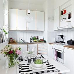 2017现代风格开放式L型5平米小面积家居厨房餐厅白色橱柜装修图片