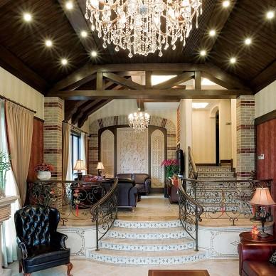 杭州九溪玫瑰园地中海别墅设计小复式楼楼梯装修效果图