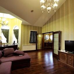 美式田园风格别墅客厅电视柜子设计装修效果图