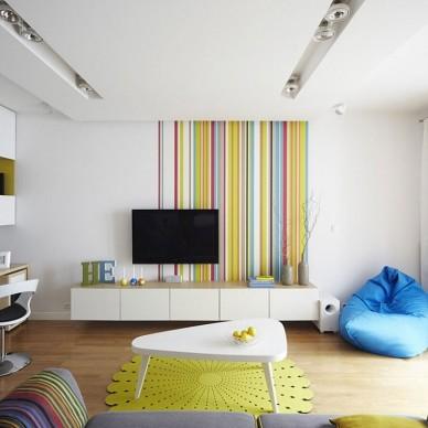 波兰90平米的活力彩色空间设计
