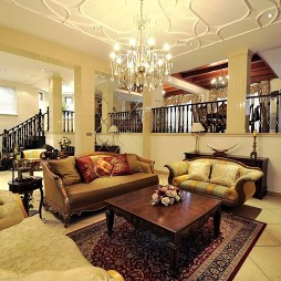 美式田园风格别墅跃层带竖梁客厅精装吊顶装修效果图