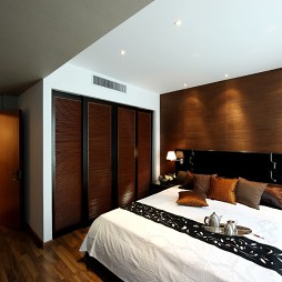 新中式古典样板房卧室衣柜装修效果图