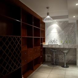 中式古典装修样板房吧台带酒柜装修效果图