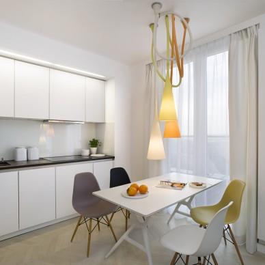 65平米复式小公寓现代餐厅吊顶时尚吊灯装修效果图