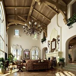 两层别墅挑空实木客厅吊顶过道垭口门