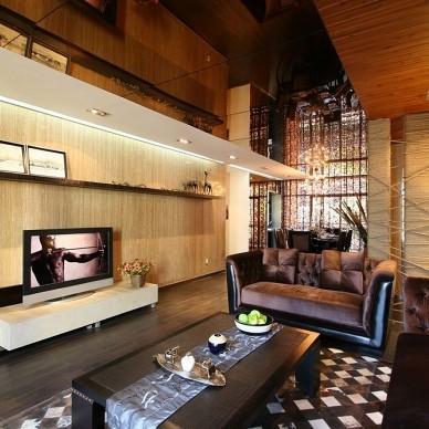 田园混搭风格样板房客厅电视背景墙装修效果图