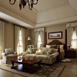 地中海别墅客厅卧室带小客厅装修效果图