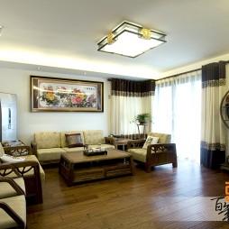 中式客厅落地窗窗帘装修效果图