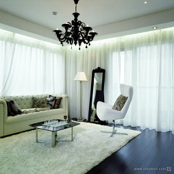 康郡风笛洲别墅后现代小客厅飘窗窗帘装修效果图