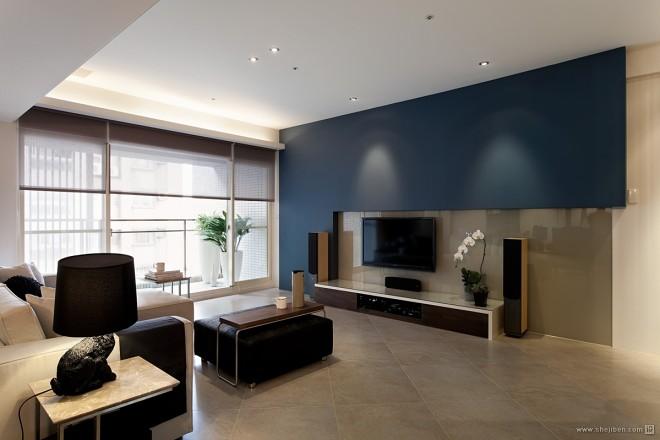 三居室家装简约客厅带阳台装修效果图