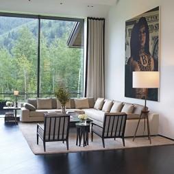 家装客厅落地窗窗帘装修效果图