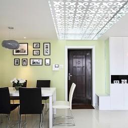 现代餐厅白色雕花吊顶装修效果图