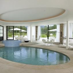 室内休闲区游泳池圆吊顶装修效果图