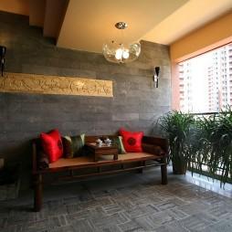 中式风格阳台休闲椅装修效果图