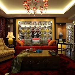 中式风格室内客厅背景墙装修效果图