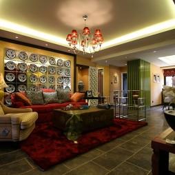 中式风格室内客厅玄关隔断装修效果图