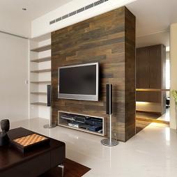 简约三居室台北吉园林样板室内设计客厅电视隔断墙装修效果图