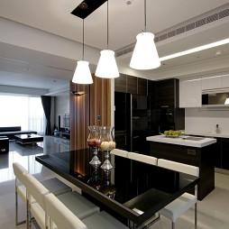 台北惠宇仰森林四居室内设计厨房与客厅隔断装修效果图