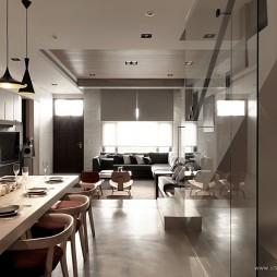 台北某复式房设计餐厅与客厅玄关装修效果图