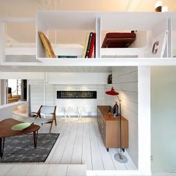简约清爽复式公寓设计阁楼式客厅卧室装修效果图