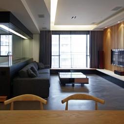 现代风格室内设计客厅与书房隔断装修效果图