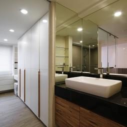 现代台中劳斯莱斯大楼陈宅衣帽间洗手盆装修效果图