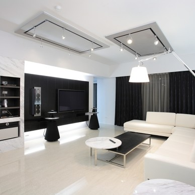 现代风格家居设计台南席悅林宅客厅玄关装饰柜装修效果图