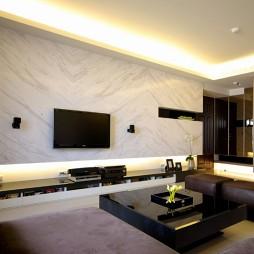 家装二居室简约客厅石膏板吊顶装修效果图