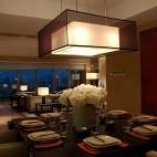 混搭风餐厅客厅吊顶吊灯装修效果图