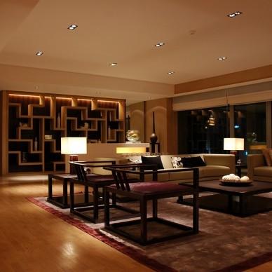 中式客厅博古架隔断装修效果图