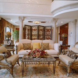 纯欧式别墅家装客厅罗马柱背景装修效果图
