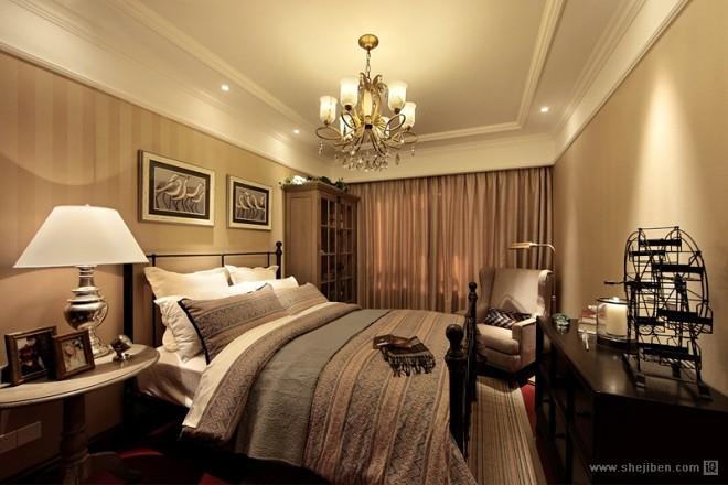 欧式风格简单时尚大方别墅长方形主卧室