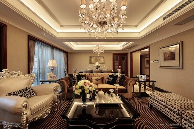 现代简欧香槟色客厅餐厅装修效果图