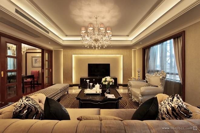 经典简欧香槟色客厅装修效果图