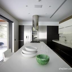 现代简约风格开放式L型小面积别墅厨房黑色橱柜吧台装修图片