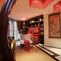 中式书房哑口圆形门装修效果图