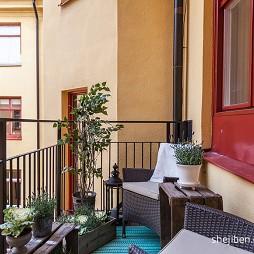 2017欧式风格四居室小区园艺休闲外阳台藤椅装修效果图片