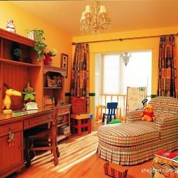 2017田园风格四居室小面积男孩儿童房书桌书柜装修效果图片