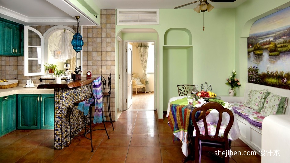 开放式书房客厅隔断_地中海风格开放式L型4平米小面积家居厨房蓝色橱柜装修效果图片 ...