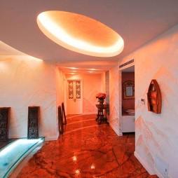 混搭风格三室一厅家居过道圆形吊顶装修效果图