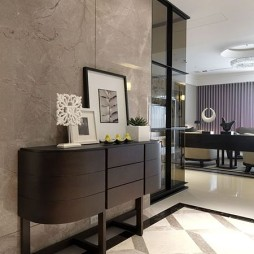 2017现代风格三居室进门客厅时尚大气玄关柜装修效果图片